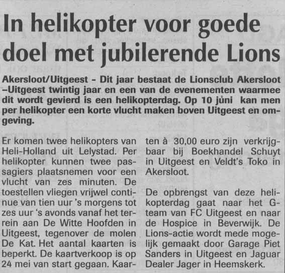 In helikopter voor goede doel met jubilerende Lions