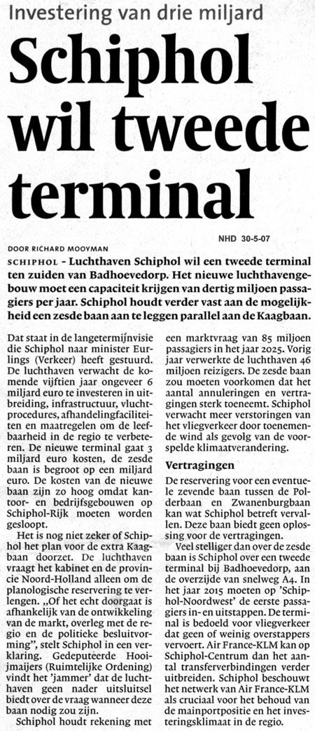Schiphol wil tweede terminal