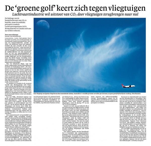 De 'groene golf' keert zich tegen vliegtuigen