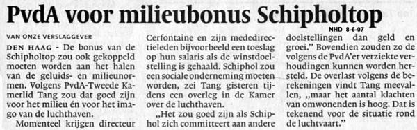 PvdA wil milieubonus voor Schiphol-top