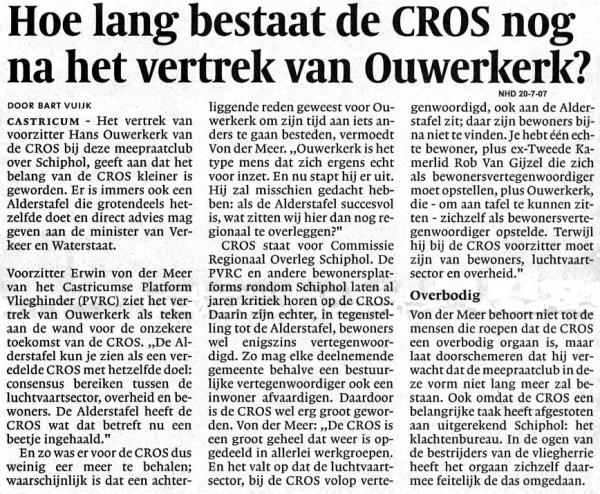 Hoe lang bestaat de CROS nog na het vertrek van Ouwerkerk?