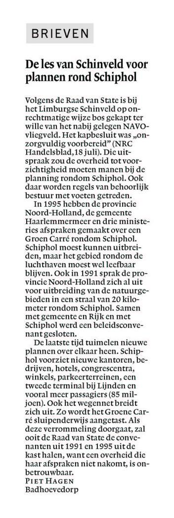 De les van Schinveld voor plannen rond Schiphol
