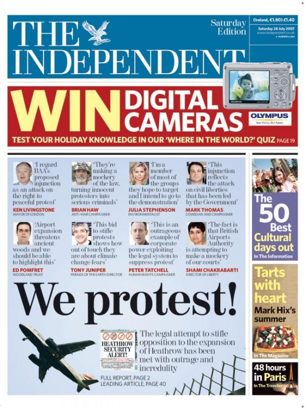"""Voorpagina """"The Independent"""""""