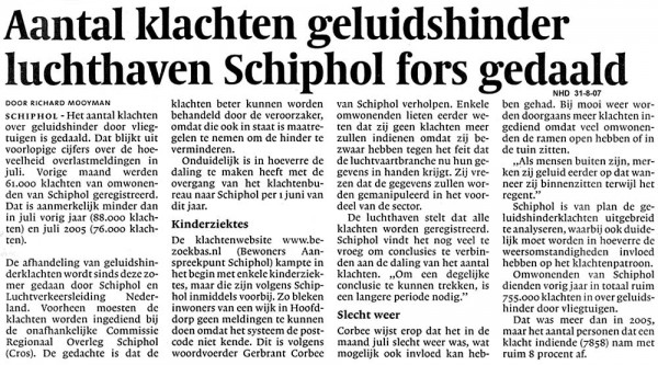 Aantal klachten geluidshinder luchthaven Schiphol fors gedaald