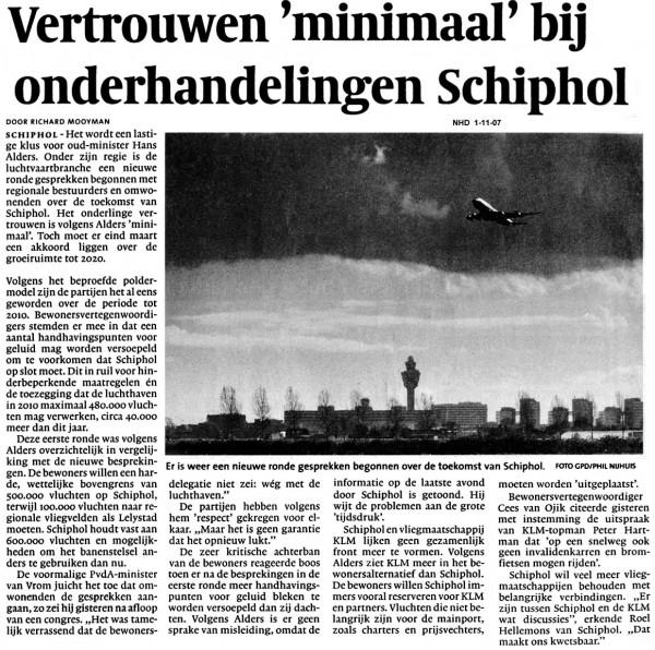 Vertrouwen minimaal bij onderhandelingen Schiphol