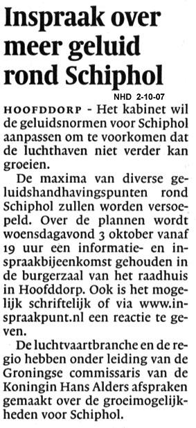 Inspraak over meer geluid rond Schiphol