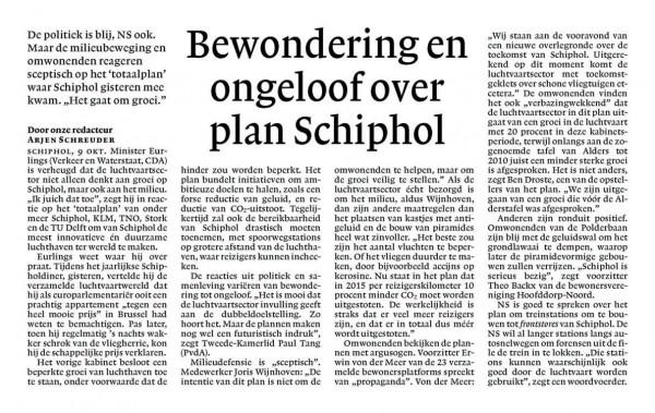Bewondering en ongeloof over plan Schiphol