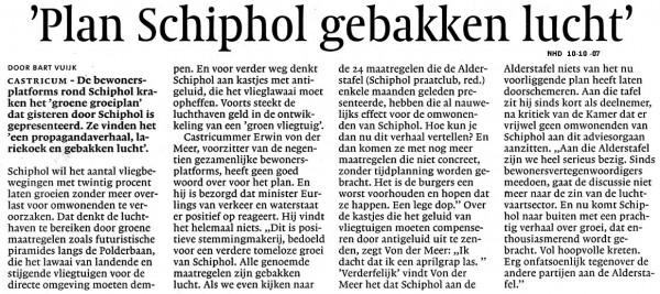 'Plan Schiphol gebakken lucht'