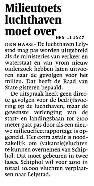Milieutoets luchthaven moet over
