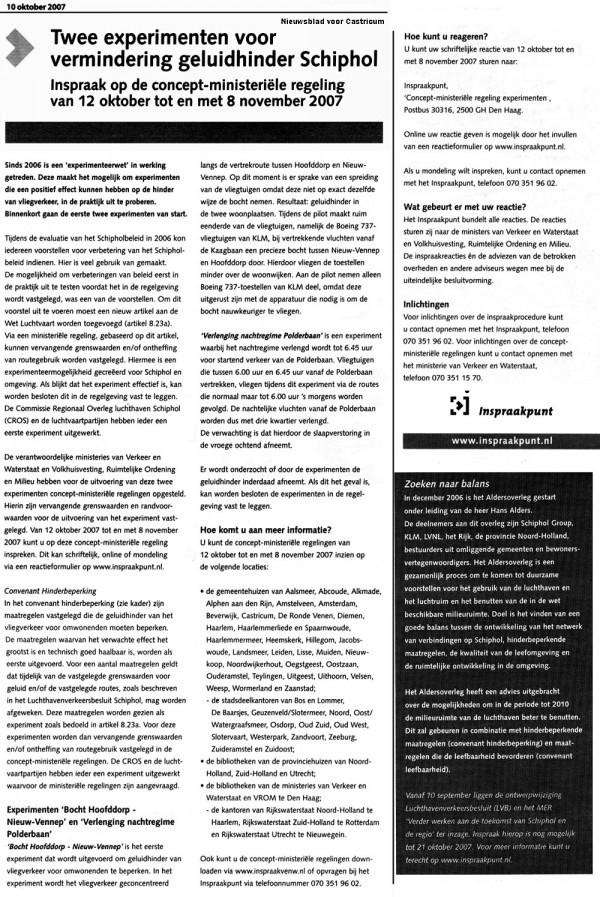 UITNODIGING VOOR INSPREKEN: Twee experimenten voor vermindering geluidhinder Schiphol