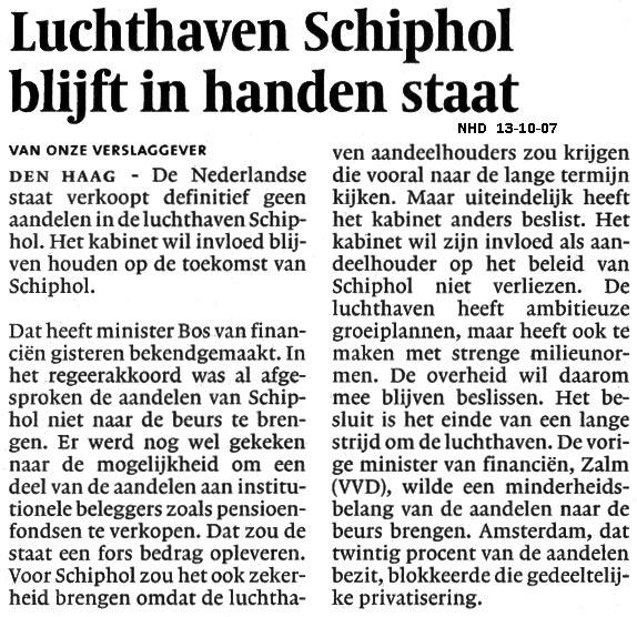 Luchthaven Schiphol blijft in handen staat