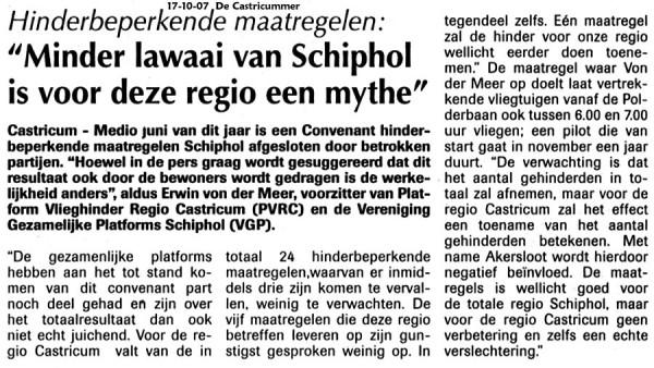Minder lawaai van Schiphol is voor deze regio een mythe
