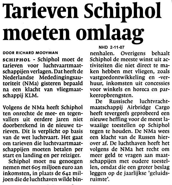 Tarieven Schiphol moeten omlaag