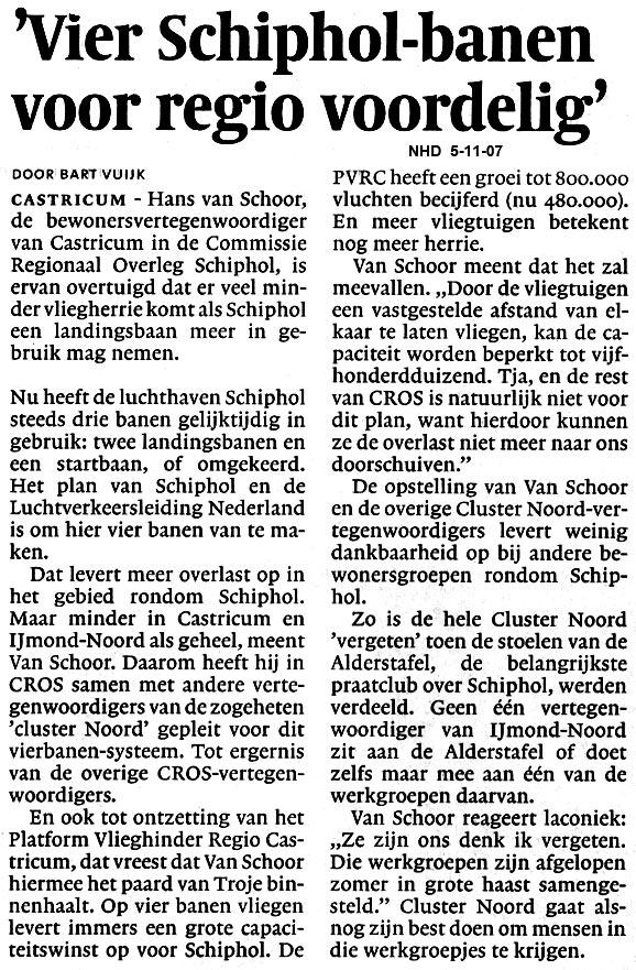 """""""Vier Schipol banen voor regio voordelig"""""""