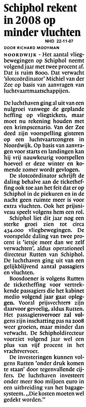 Schiphol rekent in 2008 op minder vluvhten
