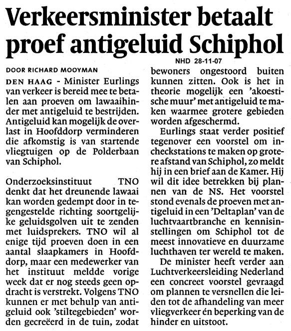 Verkeersminister betaalt proef antiegeluid Shiphol