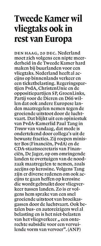 Tweede Kamer wil vliegtax ook in Europa