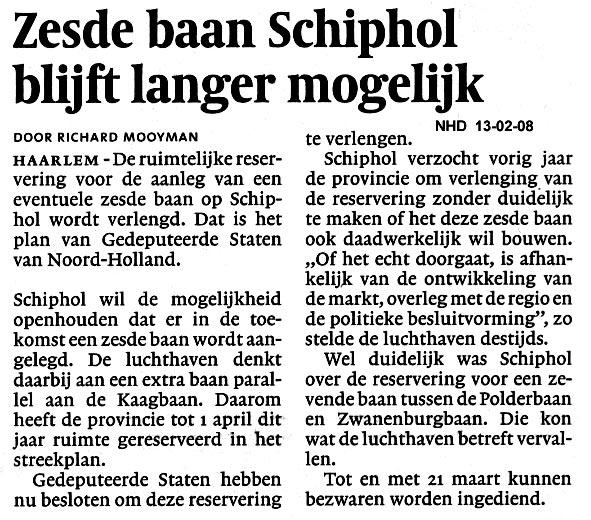 Zesde baan Schiphol blijft langer mogelijk