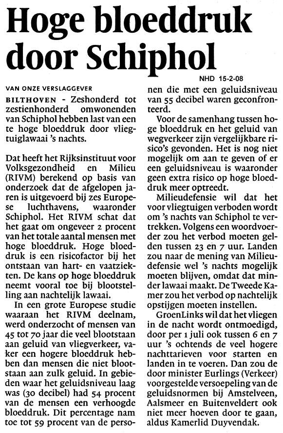 Hoge bloedruk door Schiphol