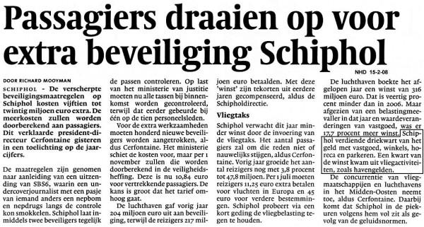 Passagiers draaien op voor extra beveiliging Schiphol