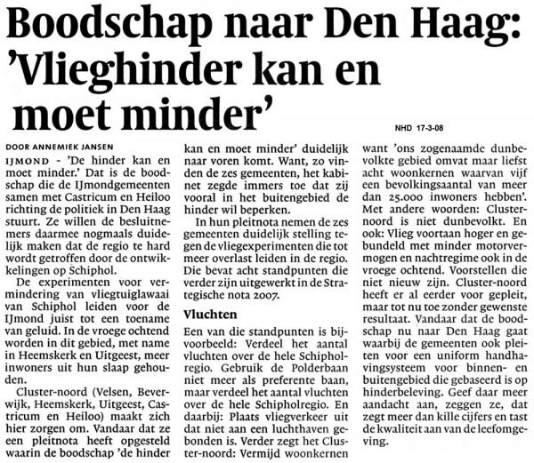Boodschap naar Den Haag  Vlieghinder kan en moet minder