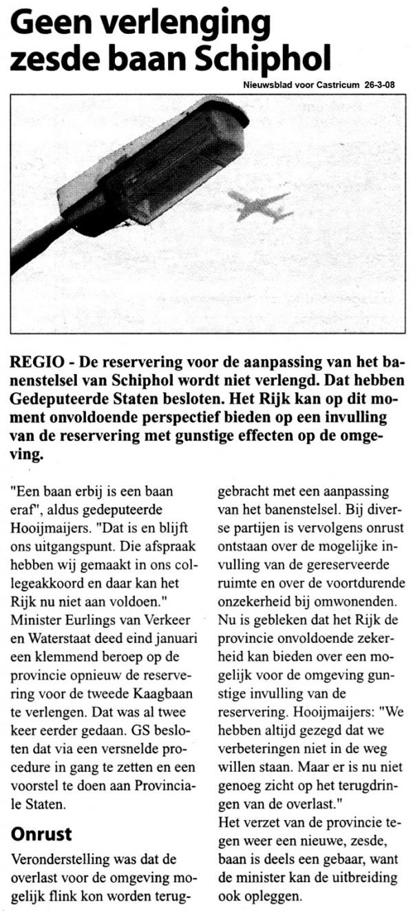 Geen verlenging zesde baan Schiphol