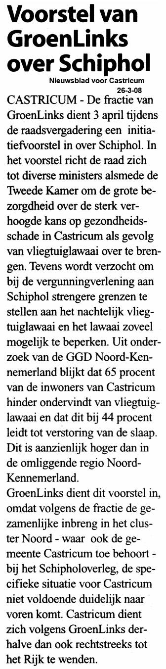 Voorstel GroenLinks over Schiphol