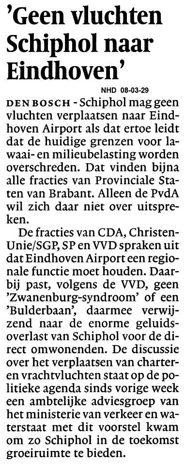 Geen vluchten Schiphol naar Eindhoven