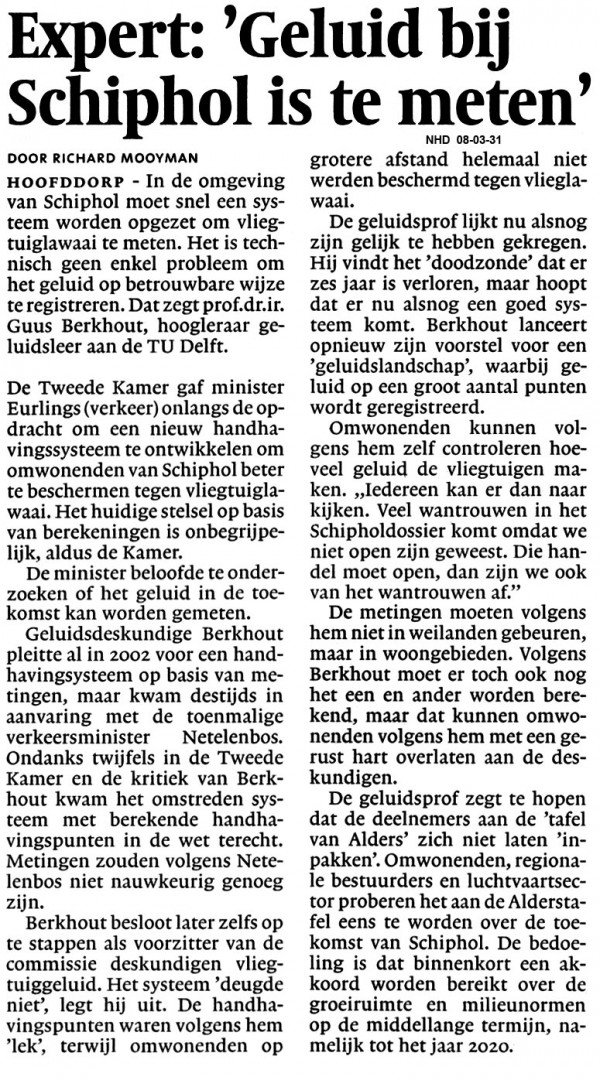 """Expert: """"Geluid bij Schiphol is te meten"""""""