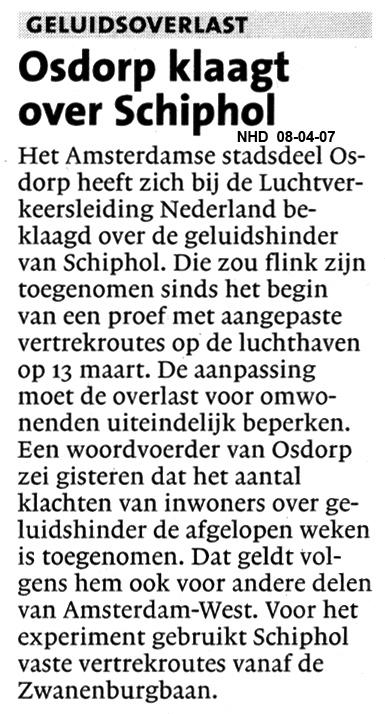 Osdorp klaagt over Schiphol