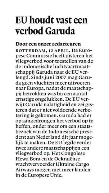 EU houdt vast aan verbod Garuda