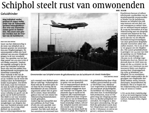Schiphol steelt rust omwonenden