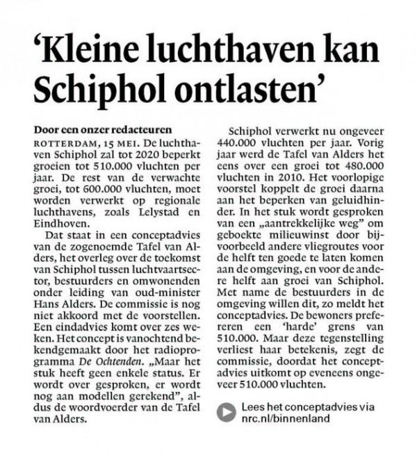 'Kleine luchthaven kan Schiphol ontlasten'