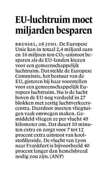 EU-luchtruim moet miljarden besparen