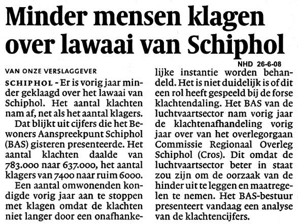 Minder mensen klagen over lawaai van Schiphol