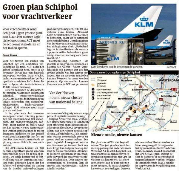 Groen plan Schiphol voor vrachtverkeer