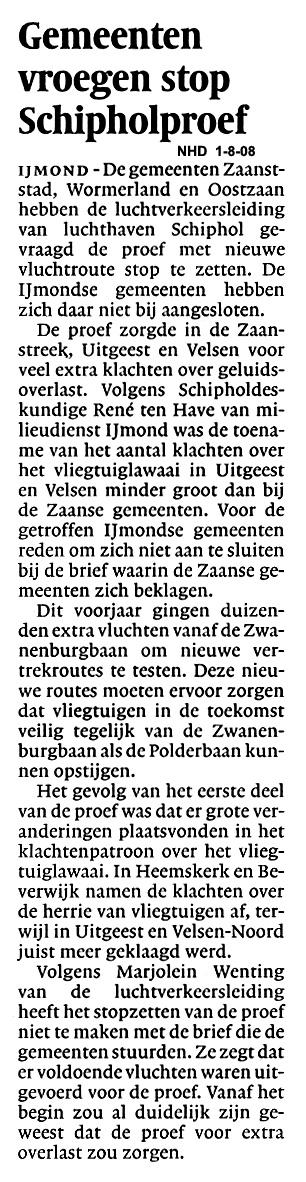 Gemeenten vroegen stop Schipholproef