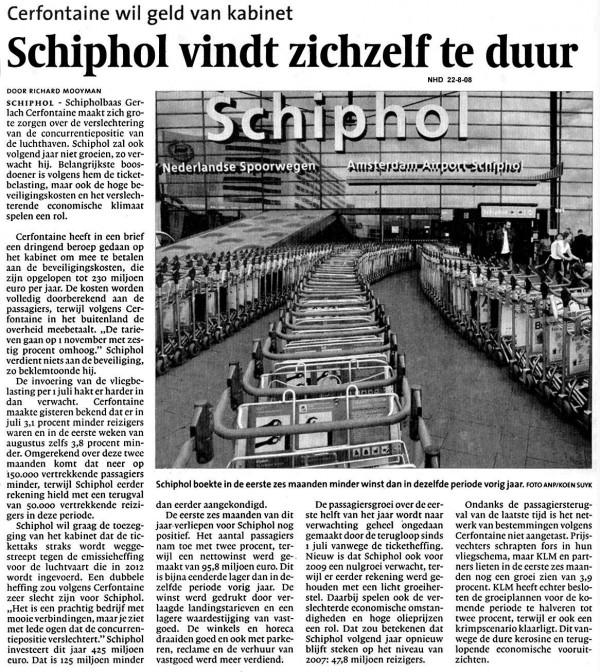 Schiphol vindt zichzelf te duur