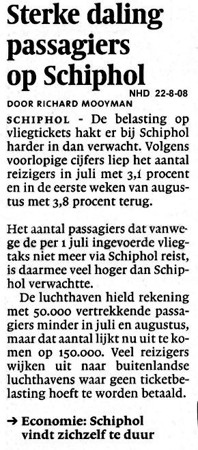 Sterke daling passagiers op Schiphol