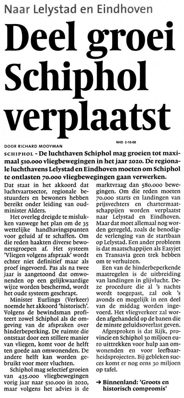 Deel groei Schiphol verplaast