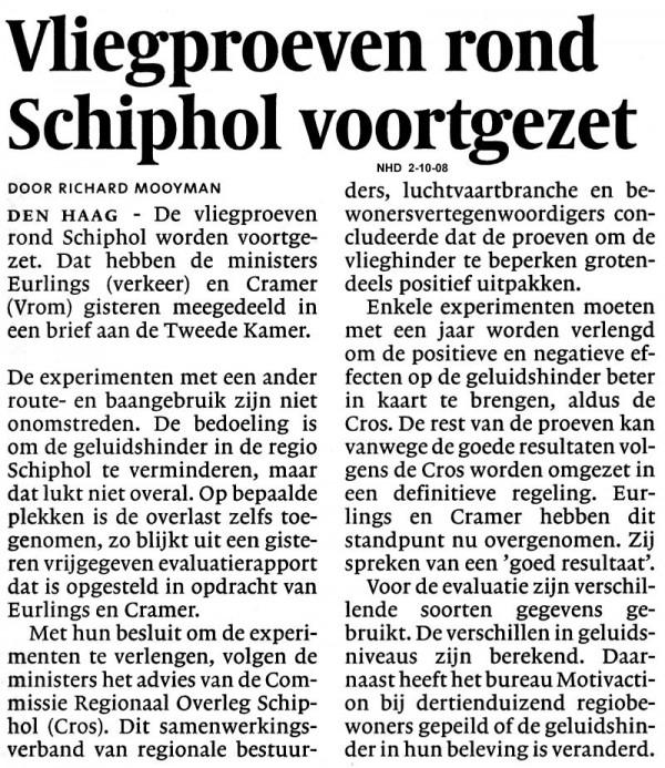 Vliegproeven rond Schiphol voortgezet