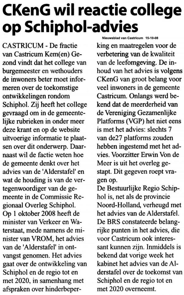 CKenG wil reactie college op Schiphol-advies