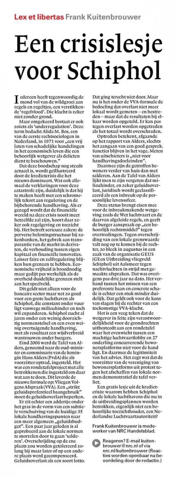 Een crisislesje voor Schiphol
