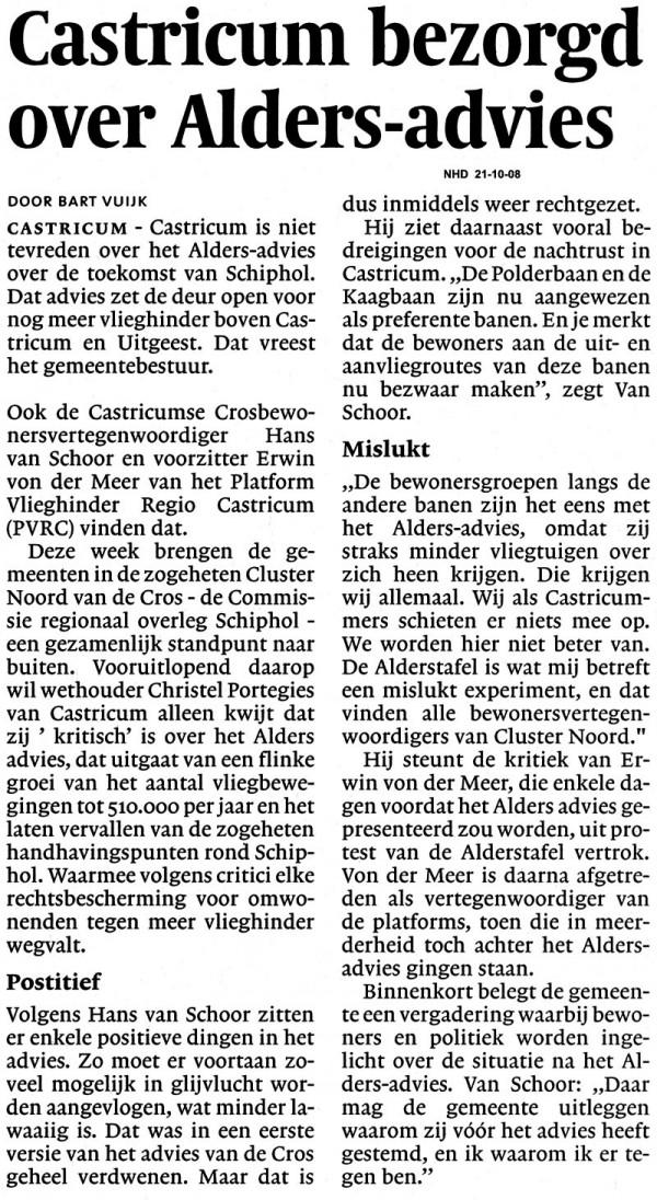 Castricum bezorgd over Alders advies
