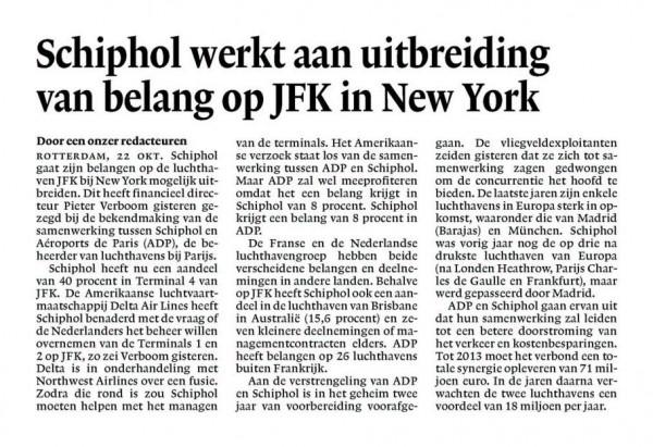 Schiphol werkt aan uitbreiding van belang op JFK in New York