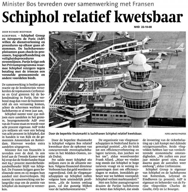 Schiphol relatief kwetsbaar