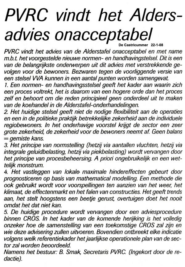 PVRC vindt het Alders advies onacceptabel