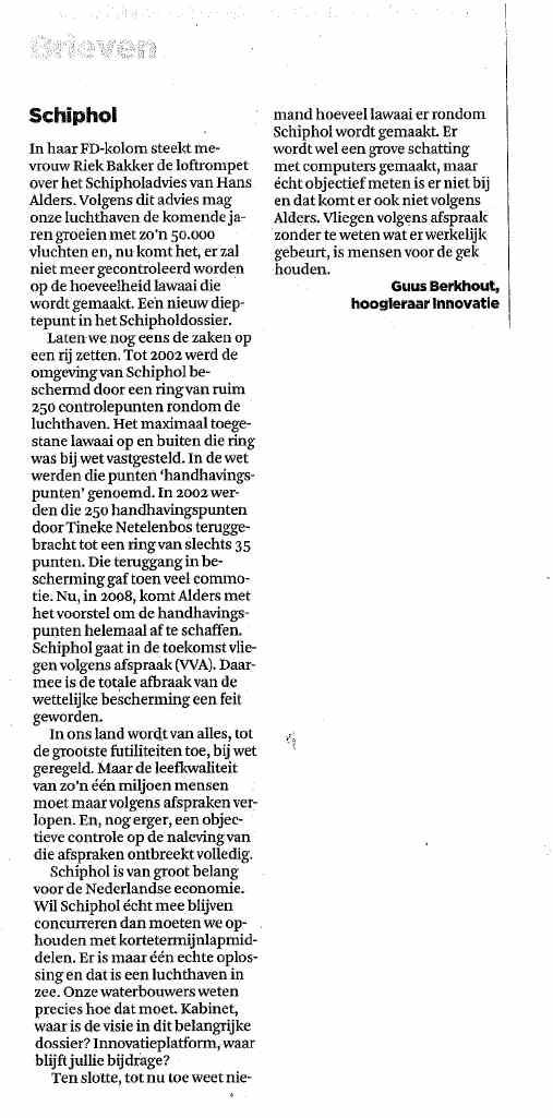 Ingezonden brieven: Prof. Berkhout over Schiphol