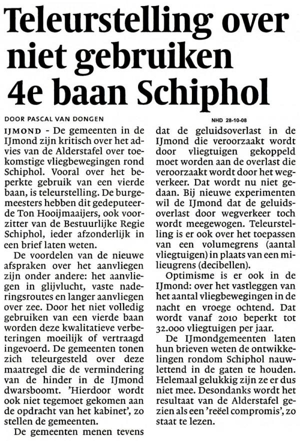 Teleurstelling over niet gebruiken 4e baan Schiphol