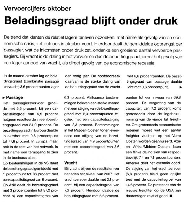 minder vracht, maar fors meer passagiers voor KLM